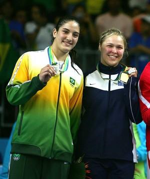judocas Mayra Aguiar e a Ronda Rousey judô do Pan de 2007, do Rio (Foto: Harry How / Getty Images)