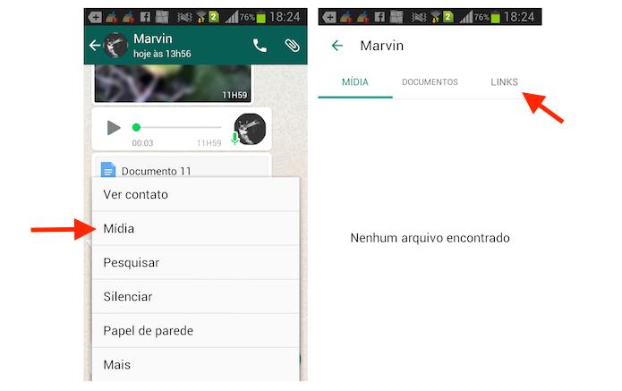 Acessando a página de links recebidos no WhatsApp para Android (Foto: Reprodução/Marvin Costa)