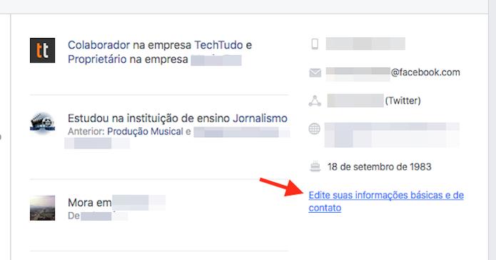 Acessando a tela de edição de informações de perfil de uma conta do Facebook (Foto: Reprodução/Marvin Costa) (Foto: Acessando a tela de edição de informações de perfil de uma conta do Facebook (Foto: Reprodução/Marvin Costa))