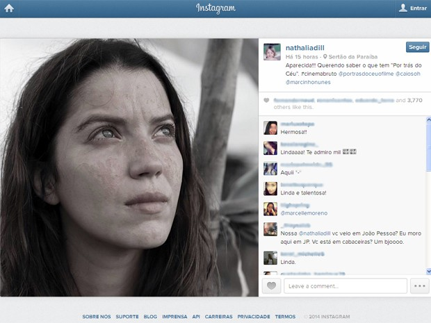 Nathalia Dill mostra a personagem Aparecida (Foto: Reprodução/Instagram/@nathaliadill)