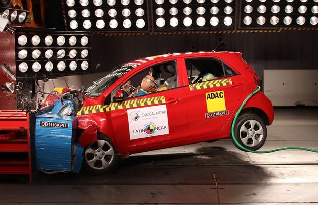 Sem airbags, Kia Picanto não recebe nenhuma estrela após passar pelos testes de colisão do Latin Ncap (Foto: Divulgação)