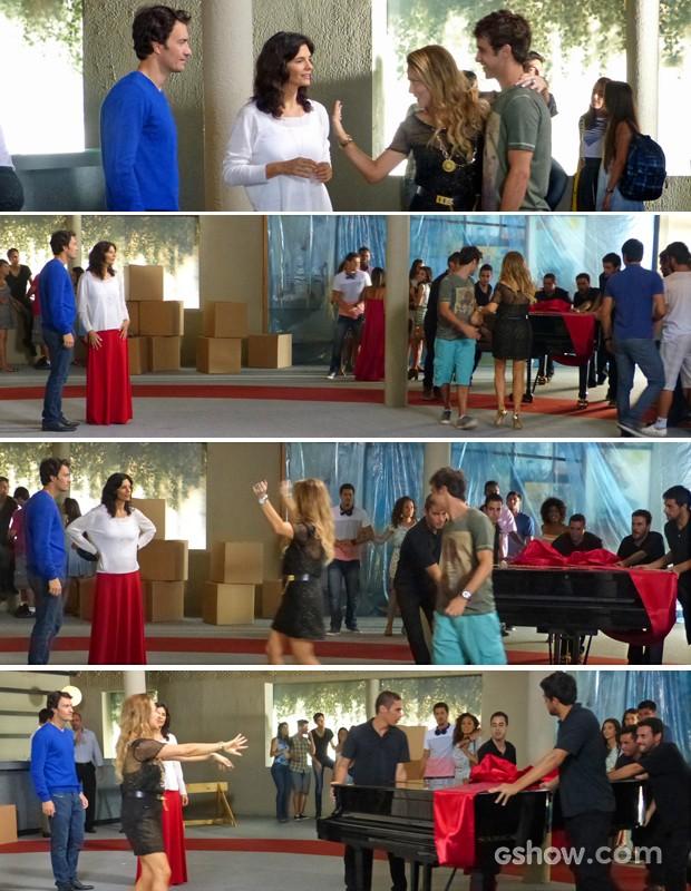 Shirley chega arrasando com presente para o galpão de Laerte e Verônica (Foto: Em Família/ TV Globo)