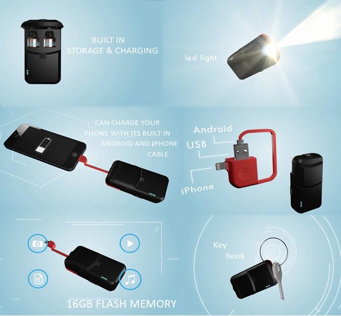 Case do Nextear vai de caixinha a chaveiro, passando por fonte de energia, lanterna e pendrive de 16 GB (Foto: Divulgação/Nextear)