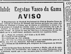 Vasco fez anúncio para escolher técnico em 1946 (Foto: Reprodução)