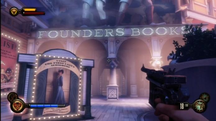 Bioshock Infinite: localize a Founder Books para procurar o Voxophone (Foto: Reprodução/IGN)