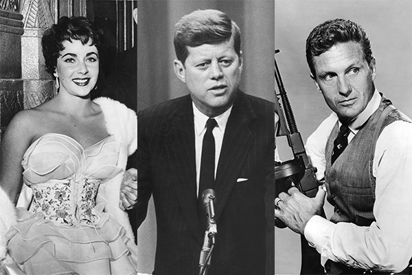 Elizabeth Taylor, John F. Kennedy e Robert Stack (Foto: Getty Images)