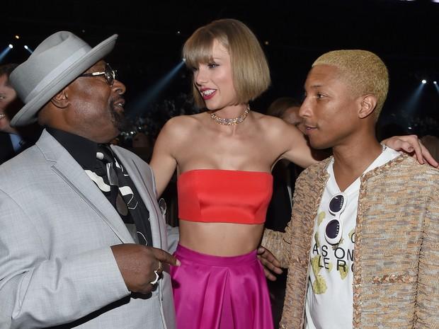 George Clinton, Taylor Swift e Pharrell Williams no Grammy, em Los Angeles, nos Estados Unidos (Foto: Larry Busacca/ Getty Images/ AFP)