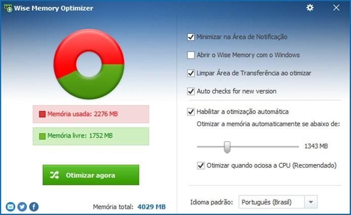 Wize Memory Optimizer é indicado para sistema mais recentes como Windows 8 e 10 (Foto: Reprodução / Dario Coutinho)