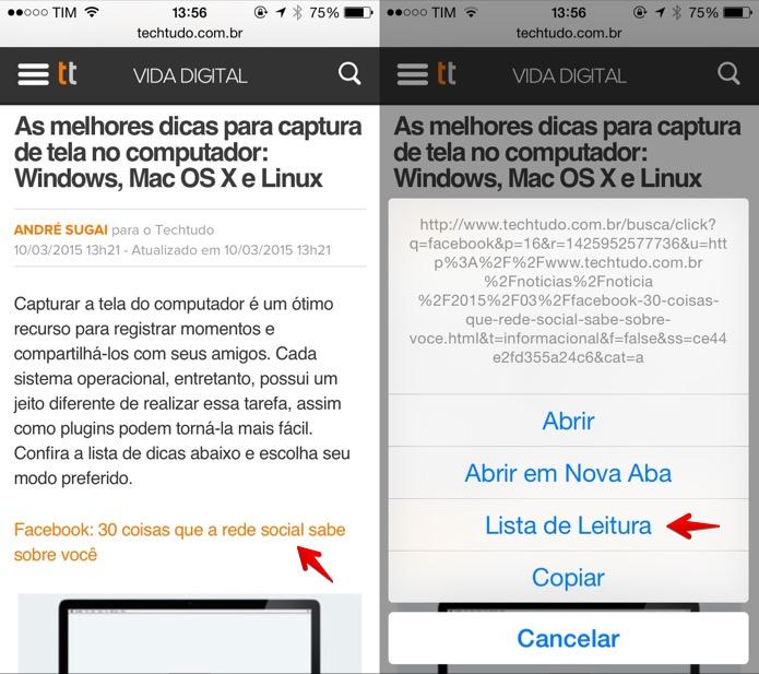 Adicionando link à lista de leitura do iOS (Foto: Reprodução/Helito Bijora)