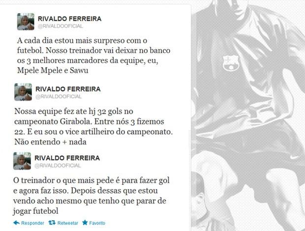 Rivaldo twitter reclamação (Foto: Reprodução / Twitter)