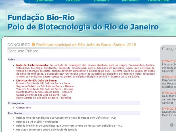 Concurso São João da Barra tem questões anuladas (Foto: Site da organizadora/Reprodução)