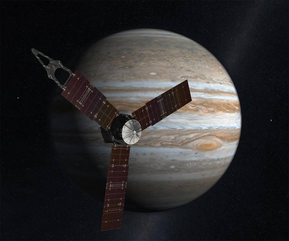 Ilustração mostra sonda Juno aproximando-se de Júpiter (Foto: Nasa)