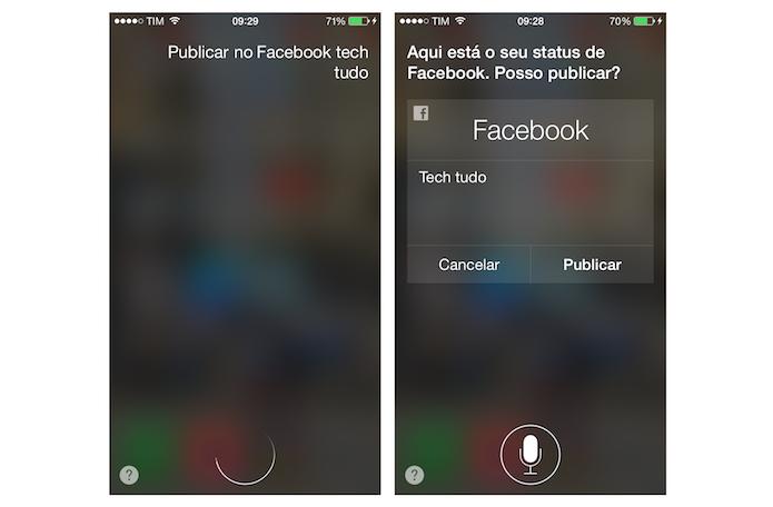 Criando uma postagem no Facebook com a Siri do iPhone (Foto: Reprodução/Marvin Costa)
