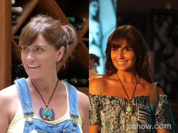 Clara faz releitura dos acessórios com looks diferentes (Foto: Em Familia; Carol Caminha/TVGlobo)