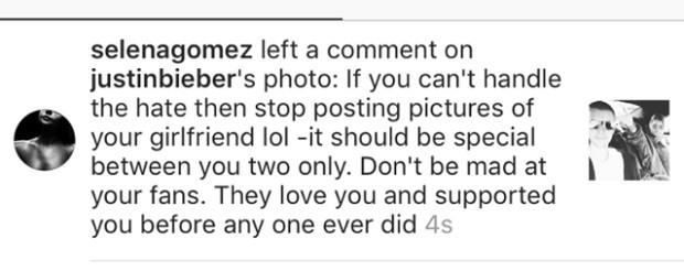 Selena Gomez sugeriu que, se ele quisesse o fim dos comentrios ofensivos, parasse de postar fotos com a namorada (Foto: Reproduo/Instagram)