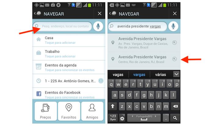 Pesquisando um local no Waze pelo Android (Foto: Reprodução/Marvin Costa)