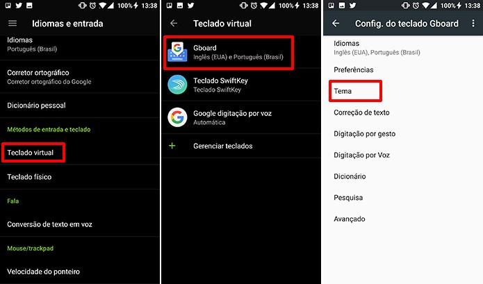 Usuário pode acessar os temas do GBoard nas configurações do Android (Foto: Reprodução/Elson de Souza)