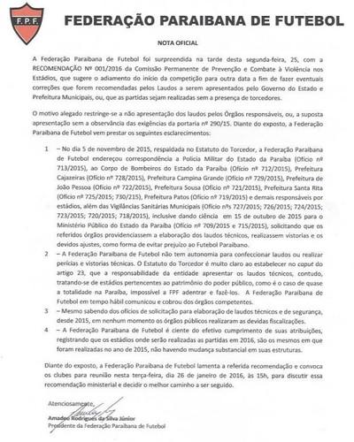 Nota Oficial; Federação Paraibana de Futebol; FPF (Foto: Divulgação / FPF)