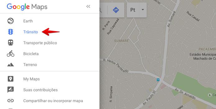 Ativando a exibição de trânsito nos mapas (Foto: Reprodução/Helito Bijora)