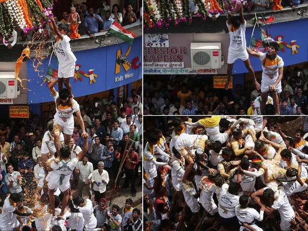 Pirâmide humana desmorona depois que componente no topo se pendura e consegue quebrar um pote de cerâmica cheio de manteiga, cobrindo os de baixo com o líquido, durante o festival hindu Janmashtami, em Mumbai, Índia. O evento celebra a divindade Krishna. (Foto: Danish Siddiqui/Reuters)