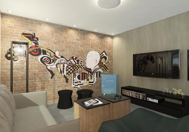 Teen Lounge foi inspirado no jogador Victor Andrade (Foto: Divulgação / Santos Arquidecor)