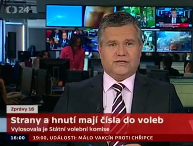 Imagem de órgão genital foi exibida por engano atrás do âncora Daniel Takac.  (Foto: Reprodução/Ceska Televize)