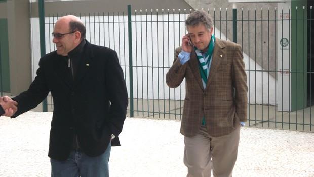 Paulo Nobre, presidente do Palmeiras e José Carlos Brunoro, diretor de futebol  (Foto: Maria Clara)