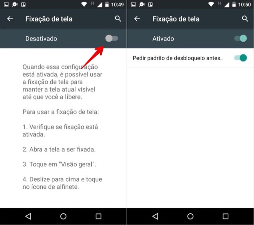 Ativando a fixação de apps na tela do Android (Foto: Reprodução/Helito Bijora)