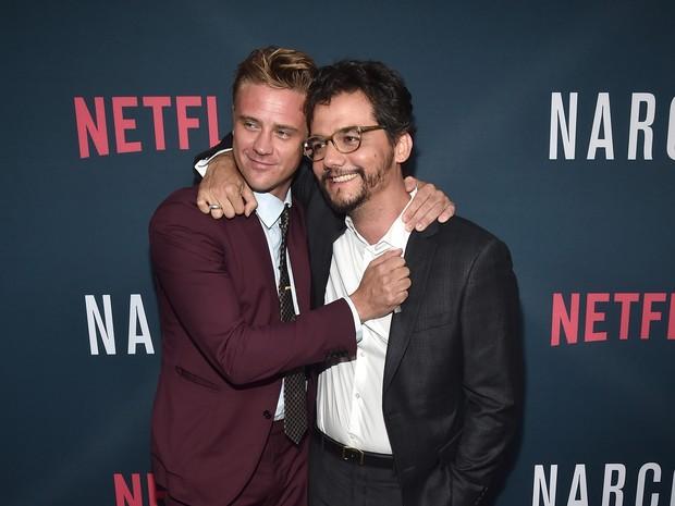 Boyd Holbrook e Wagner Moura em première em Los Angeles, nos Estados Unidos (Foto: Alberto E. Rodriguez/ Getty Images/ AFP)