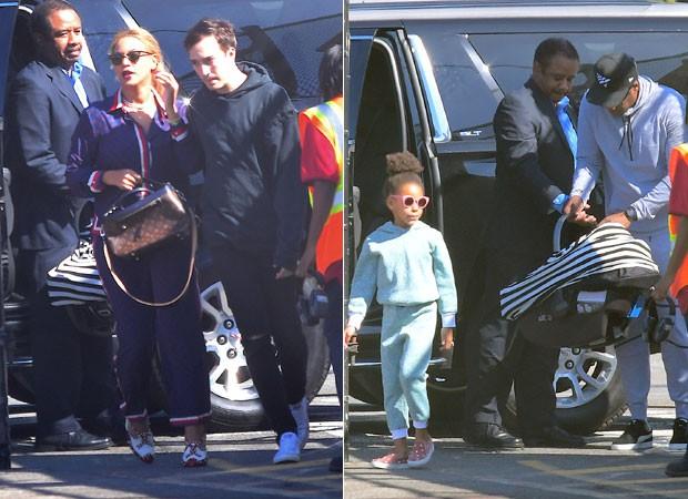 Beyoncé, Blue Ivy, Jay-Z e um dos gêmeos (Foto: The Grosby Group)