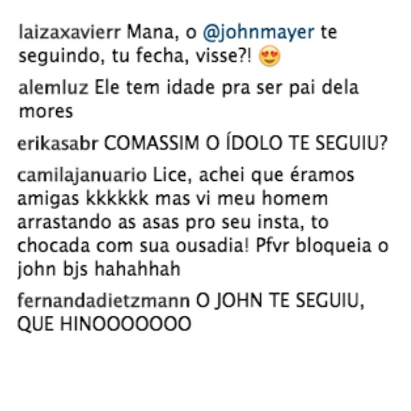 """Fãs comentaram o """"follow"""" de John Mayer nas fotos de Alice (Foto: Reprodução/Instagram)"""