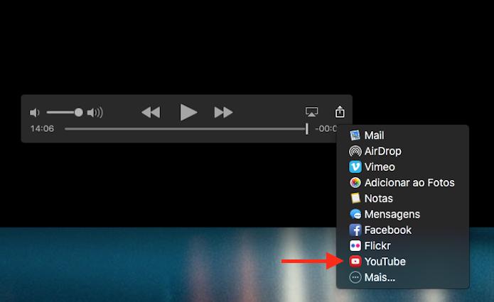 Acessando a opção de compartilhamento com o YouTube do Quicktime no Mac OS (Foto: Reprodução/Marvin Costa)