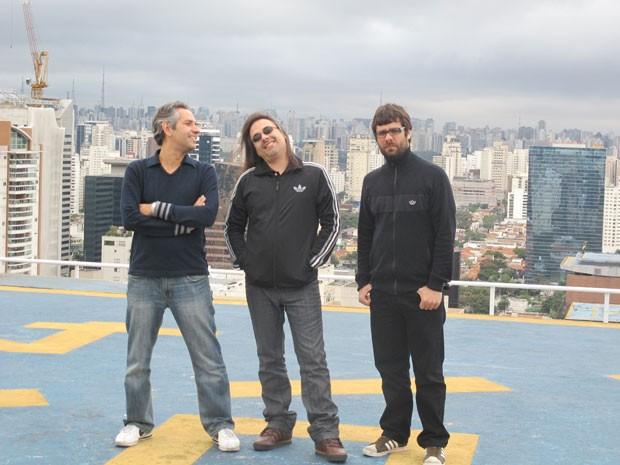 Felipe Machado, Andre Matos e Hugo Mariutti, do Viper, durante encontro antes do show no Rock in Rio 2013 (Foto: Cauê Muraro/G1)