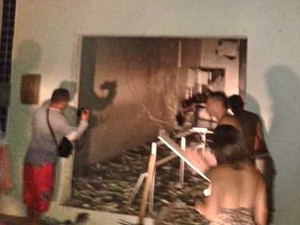 Agência do banco Bradesco é explodida por criminosos no interior do RN (Foto: Sidney Silva/G1)