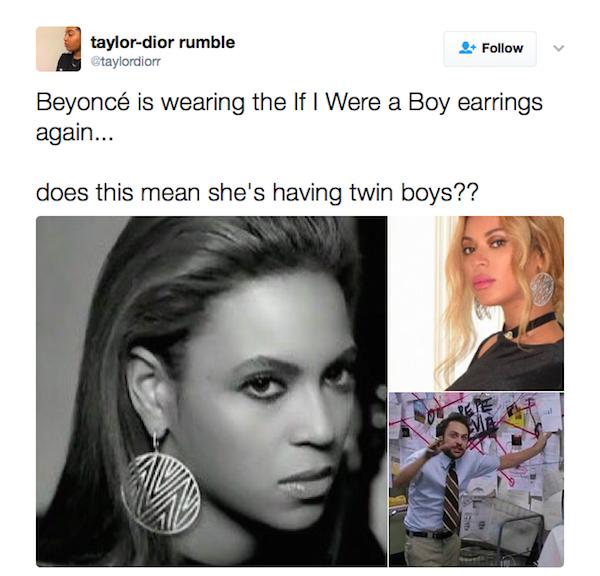 A teoria levantada por uma fã de Beyoncé (Foto: Twitter)