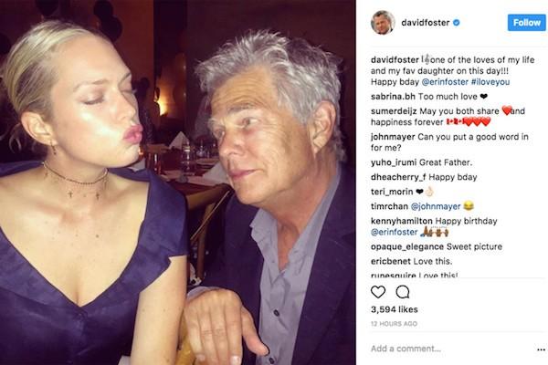 A cantada de John Mayer na atriz Erin Foster, filha do produtor David Foster (Foto: Instagram)