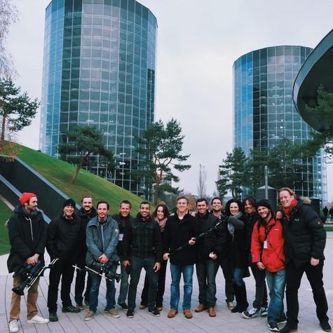 Luciano Huck e a equipe do 'Caldeirão' na Alemanha (Foto: Arquivo pessoal)