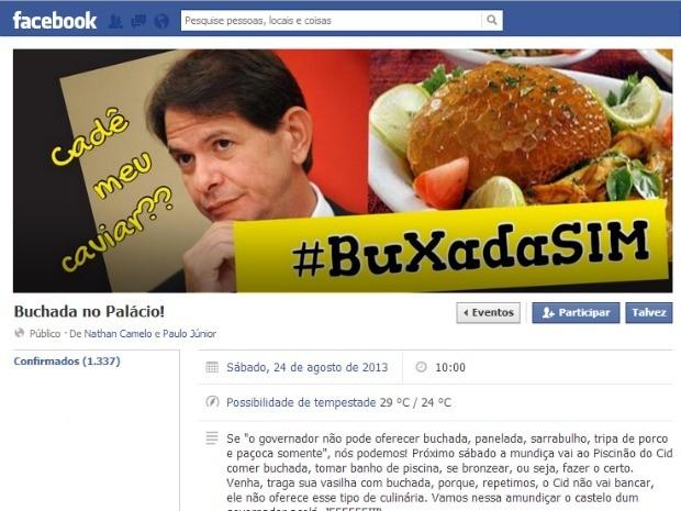 Grupo organiza um serviço de buffet popular em frente à sede do governo (Foto: Facebook/Reprodução)