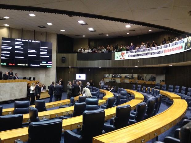 Plenário da Câmara de São Paulo durante posse nesta terça-feira (Foto: Roney Domingos/G1)
