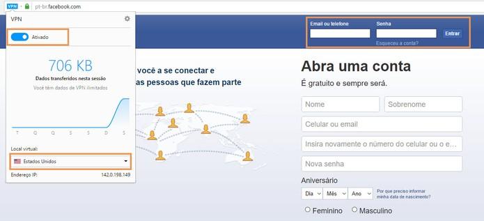 Acesse o Facebook usando a VPN ativada no Opera (Foto: Reprodução/Barbara Mannara)
