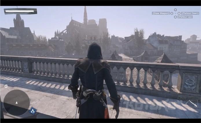 Novo assassino, Arno em Paris observando o Rio Sena e a Catedral de Notre-Dame (Foto: Kotaku)