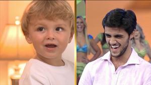 Felipe Simas e o filho Joaquim (Foto: TV Globo)