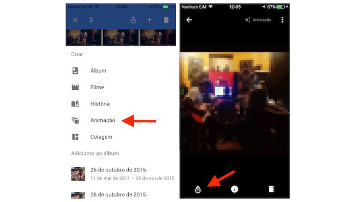 Criando um arquivo GIF e acessando as opções de compartilhamento do Google Photos para iPhone (Foto: Reprodução/Marvin Costa)