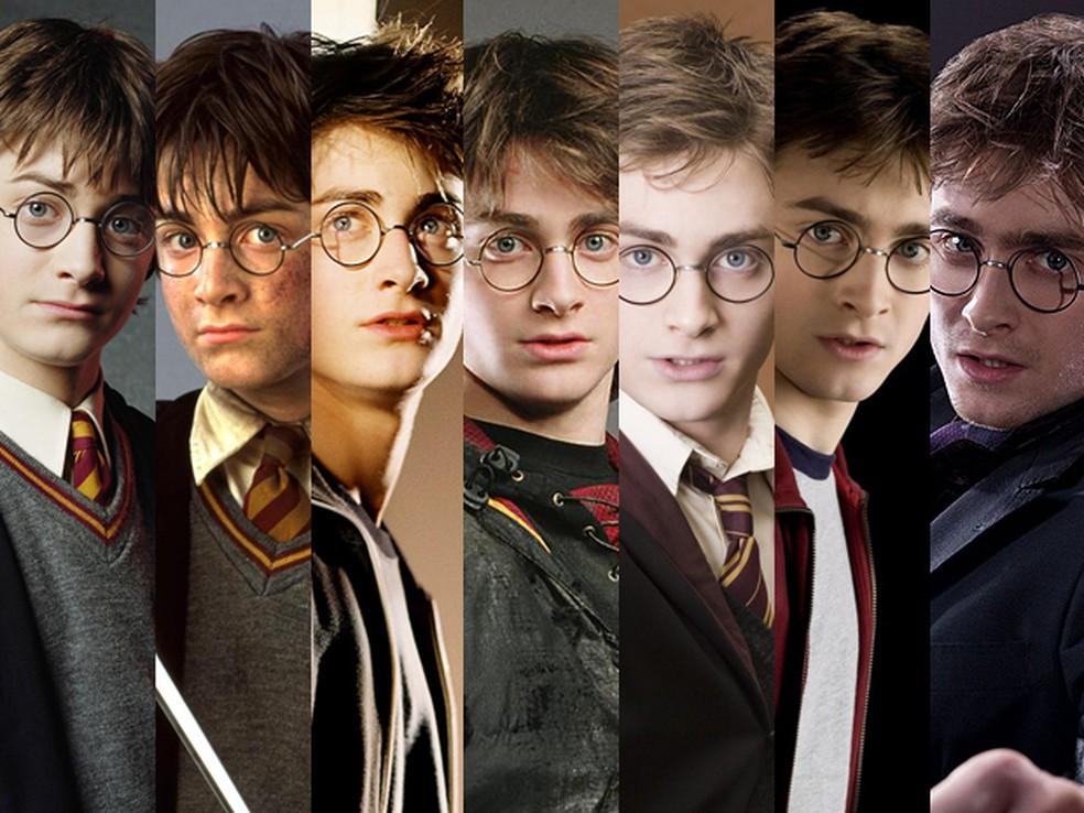 Daniel Radcliffe (Harry Potter) ao longo dos oito filmes da série (Foto: Divulgação)