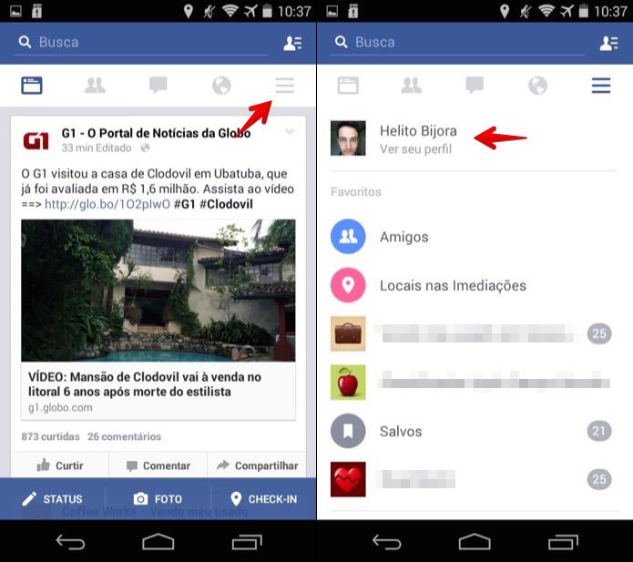 Acesse o seu perfil no Facebook (Foto: Reprodução/Helito Bijora)