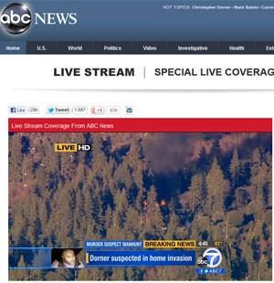 Site da rede ABC mostra imagens do incêndio dna cabana on de o ex-policial Christopher Dorner estava foragido nestya terça-feira (12). (Foto: Reprodução)