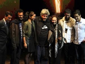 """Elenco e diretor do filme 'A História da Eternidade"""" exibido no Festival de Paulínia (Foto: Gustavo Magnusson/G1)"""