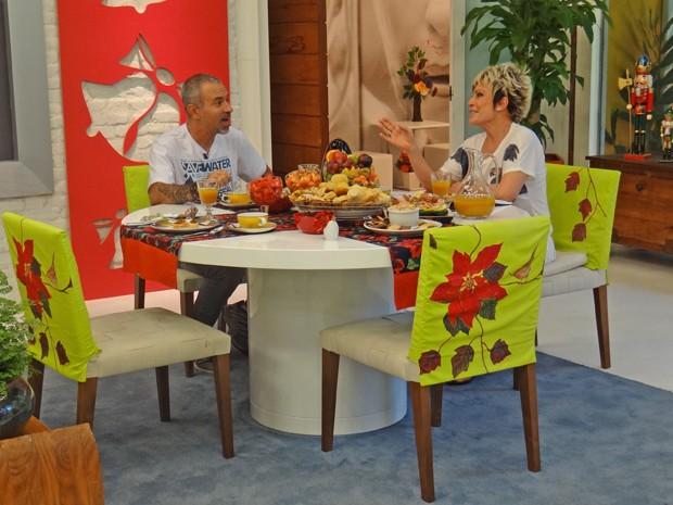 Lawrence Wahba toma café com Ana Maria (Foto: Mais Você / TV Globo)