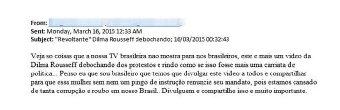 E-mail disseminando vírus trojan com vídeo falso da presidente do Brasil (Foto: Divulgação/ESET)