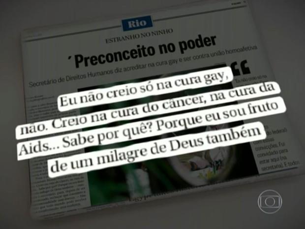 Secretário de Direitos Humanos falou de 'cura gay' ao jornal 'O Globo' (Foto: Reprodução / Globo)